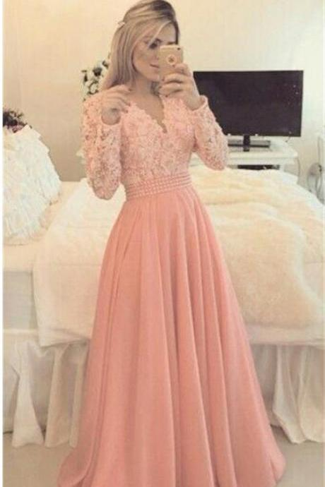 A line Long Sleeves Prom Dresses,Pink Lace Beading V-neck Evening Dresses,Chiffon Long Party Dresses,Prom Dresses DC135