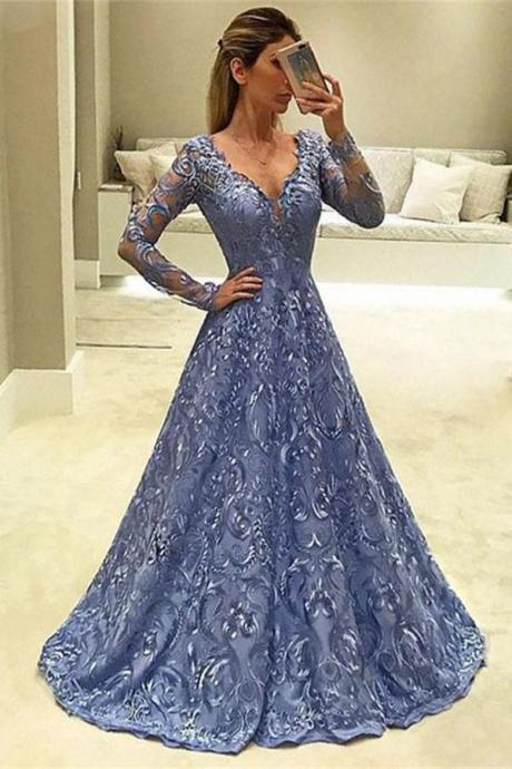 Elegant A Line Blue Long Sleeves Party Dresses,Modest V-neck Long Lace Evening Dresses,Simple Unique Formal Dresses,Prom Dresses DC136