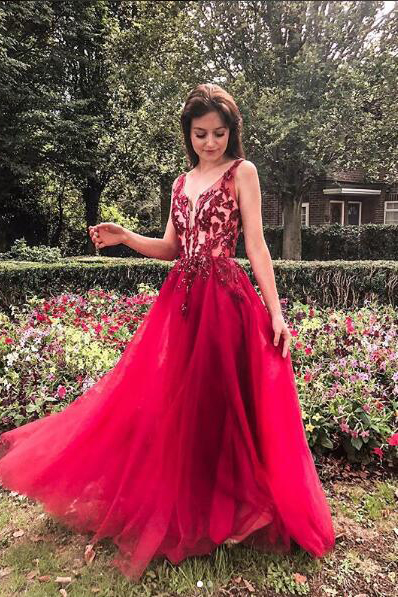 Elegant A Line V Neck Prom Dresses,Charming Tulle Red Lace Beads Party Dresses,Prom Dresses DC155
