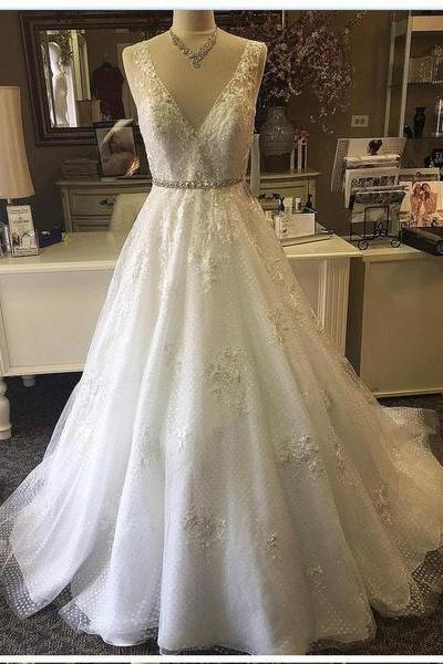 A line V Neck Lace Beaded Wedding Gowns, Cheap Wedding Dresses Online, Cheap Lace Bridal Dresses,Wedding Dresses DC158