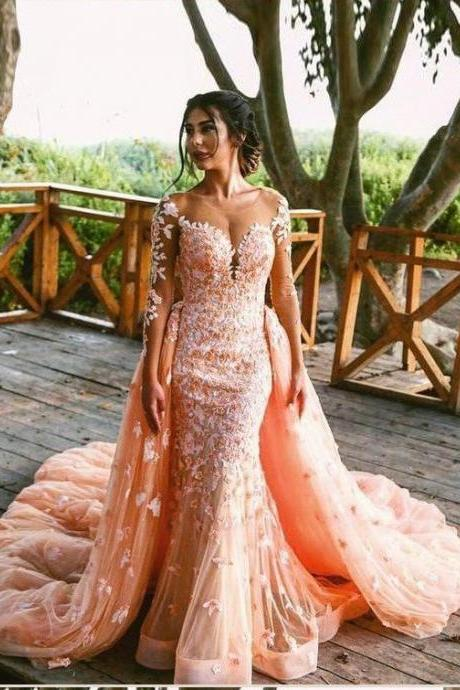 Elegant Mermaid Prom Dresses,Long Sleeve Pink Party Dresses,Tulle Lace Appliques Evening Dresses,Long Cheap Prom Dresses,Prom Dresses DC176