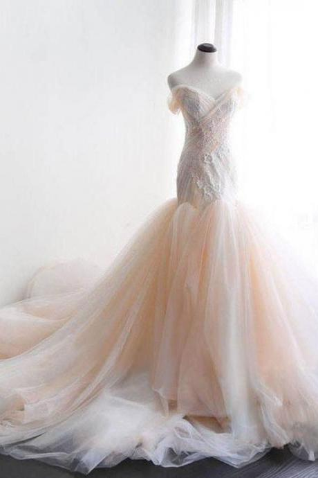 Mermaid Off the Shoulder Wedding Dresses,Champagne Tulle Sweetheart Prom Dresses,Beads Lace Appliques Party Dresses,Prom Dresses DC178