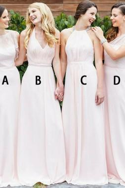 Mismatched Pale Pink Prom Dresses,Chiffon Cheap Long Bridesmaid Dresses,New Style Party Dresses,Bridesmaid Dresses DC180