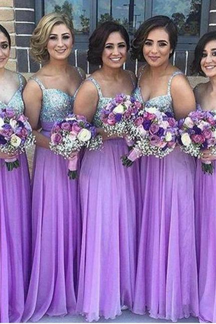 A Line Spaghetti Straps Bridesmaid Dresses,Purple V Neck Chiffon Beading Floor Length Long Bridesmaid Gowns,Bridesmaid Dresses DC187