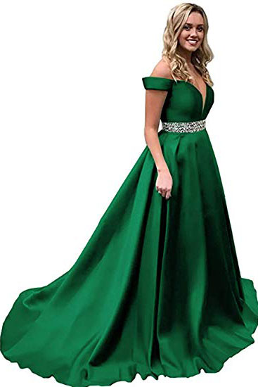 A Line Off the Shoulder Prom Dresses,Green Beads Evening Dresses,Satin Long Party Dresses,Prom Dresses DC194