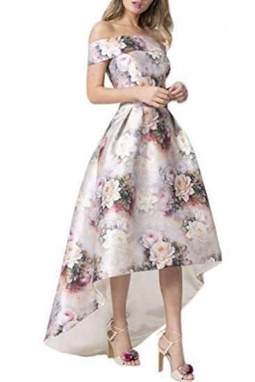 A Line Off the Shoulder Floral Print Long Prom Dress,High Low Short Sleeve Evening Dresses,Prom Dresses DC195