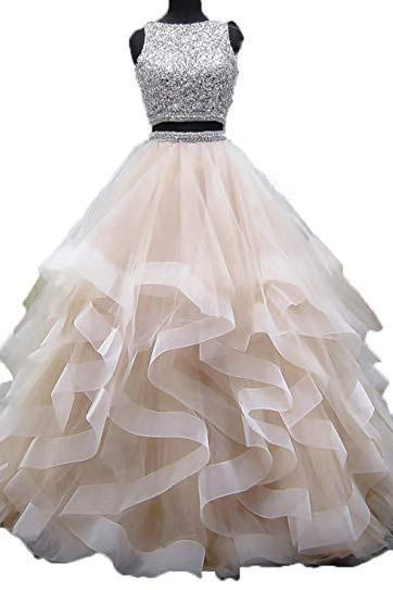 Ball Gown Beaded Two Piece Prom Dresses,Long Asymmetric Layered Tulle Formal Dresses,Open Back Sleeveless Party Dresses,Prom Dresses DC199