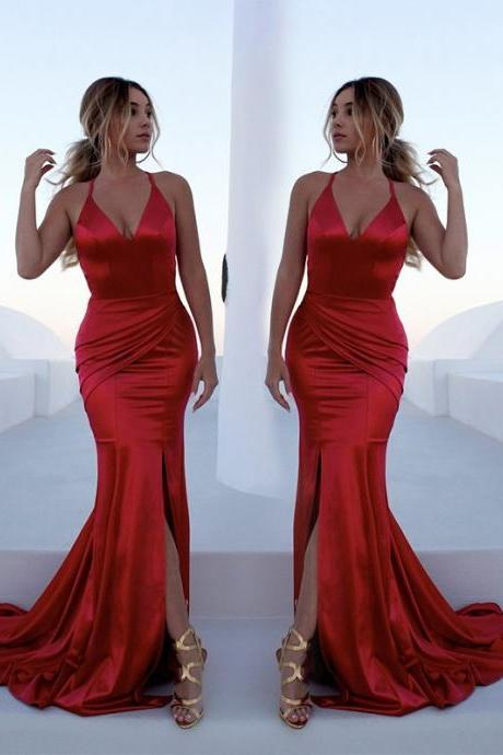 Mermaid Red Prom Dresses, Criss Cross Satin Long Evening Dresses, Deep V Neck Ruffles Formal Dresses with Split, Prom Dresses DC283