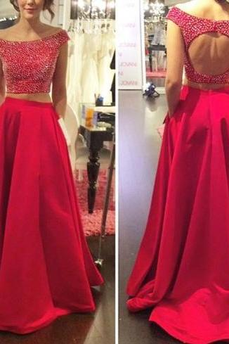 Two Pieces Open Back Red Satin Detachable Skirt Prom Dresses,Seax Beading Evening Dress,Backless Boat Neckline Prom Gown Dress