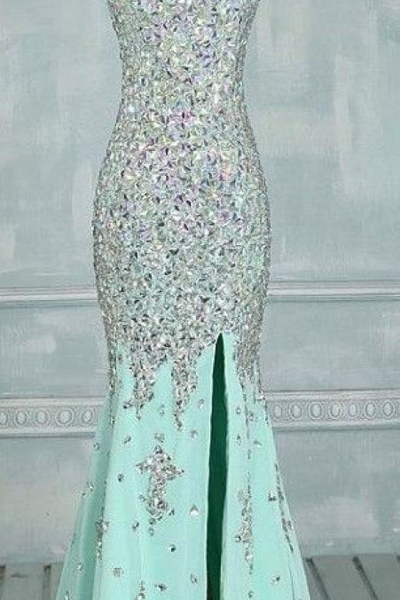 Real Made Prom Dresses, Floor-Length Prom Dresses, Mint Green Prom Dresses, Sequin Shiny Front Split Prom Dresses, Charming Prom Dresses, Evening Dresses,Prom Dresses On Sale
