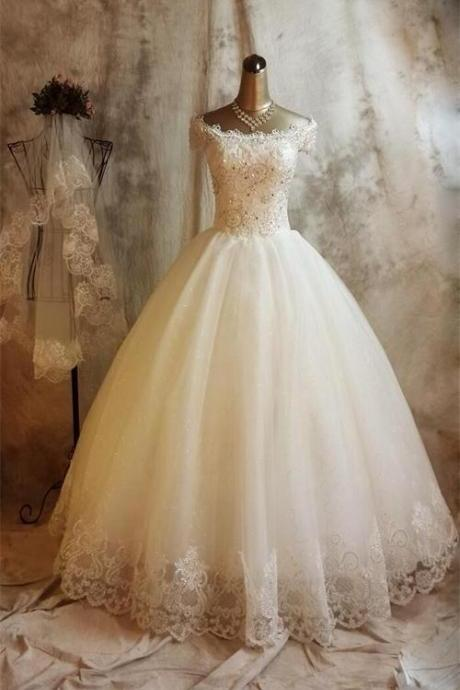 Long Ball Gown Lace Wedding Dresses,Beaded Back Up Lace Wedding Gowns,Bridal Gowns On Sale DR0484