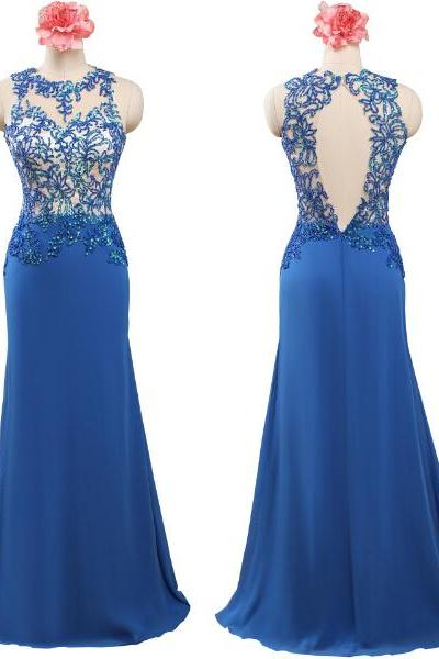 Newest Royal Blue Long Prom Dresses,Lace Prom Dress.Cap Sleeves Evening Dresses,Backless Prom Gowns