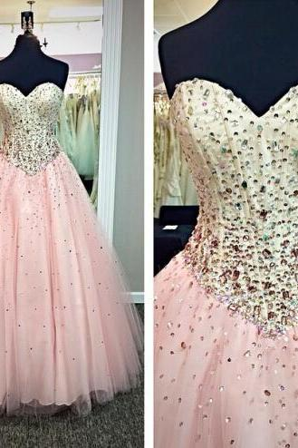 New Arrival Pink Long Ball Gown Prom Dresses,Sweetheart Beaded Evening Dresses,Quinceanera Dresses,Back Up Lace Prom Dress
