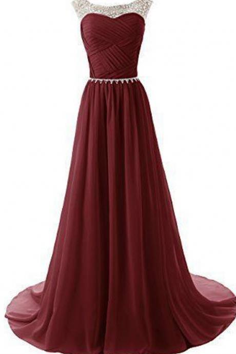 Burgundy Long Chiffon Beaded Cap Sleeves Prom Dresses,A-line Evening Dresses,Prom Gowns. Evening Gown, Party Prom Dresses On Sale