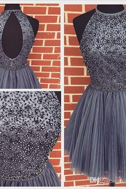 Top Selling Gray Homecoming Dresses,Beaded Charming Short Prom Dresses,Custom Made Graduation Dresses,Open Back Party Dresses