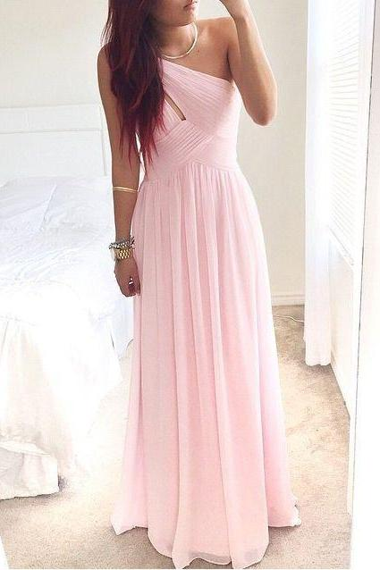2016 Newest One Shoulder Prom Dresses,Pink Prom Gowns,Simple Bridesmaid Dresses.Cheap Long Party Dresses