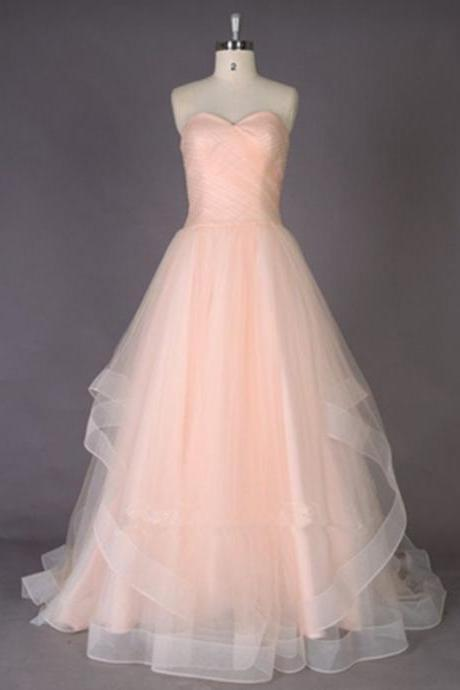 2016 New Design Blush Pink Long Prom Dresses,Simple Evening Dresses,Sweetheart Cheap Prom Dress
