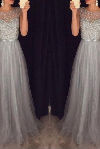 New Arrival Beading Prom Dresses,Charming Gray Evening Dresses,A-line Modest Prom Gowns,Long Prom Gowns DR0079