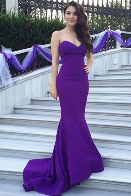 2016 New Design Long Simple Purple Strapless Prom Dresses,Modest Prom Dresses,Cheap Prom Gowns,Mermiad Evening Dresses,Beautiful Party Prom Dresses
