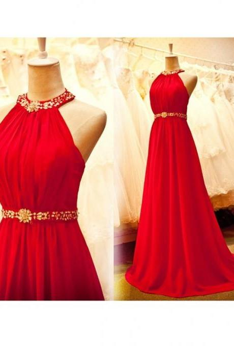 2016 Halter Beaded A-line Backless Long Chiffon Simple Cheap Prom Dresses For Teens,Evening Dresses,Party Prom Dresses,Prom Gowns