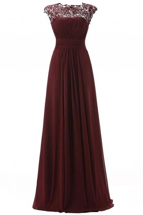 Bridesmaid Dresses,2016 Simple Chiffon Lace Prom Dresses,Cheap Prom Dress,Long Party Dresses,Modest Evening Dresses