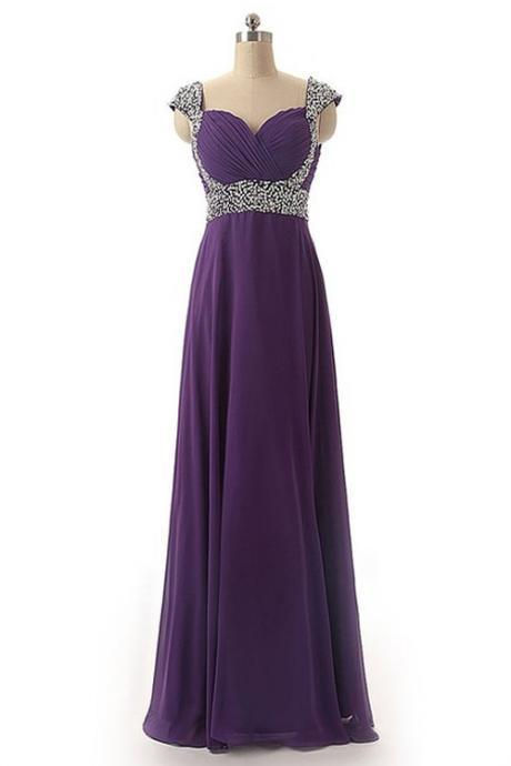 Bridesmaid Dresses, Back Up Lace Long Chiffon Prom Dresses For Teens,Beaded Open Back Evening Dresses,Charming Prom Dress