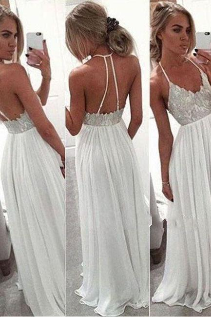 Simple Lace Beading Long Prom Dresses,Cheap Halter Prom Dress,Spaghetti Straps Party Dresses,White Prom Gowns DR0402