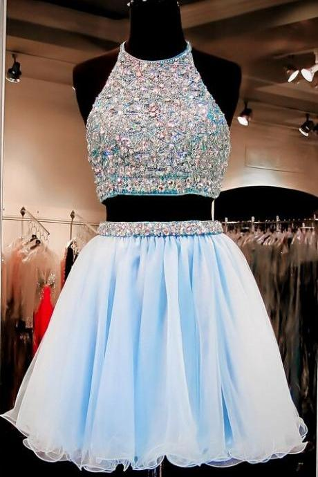 2016 Beautiful Short Prom Dresses,Two Pieces Light Sky Blue Homecoming Dresses,Halter Open Back Cocktail Dresses For Teens