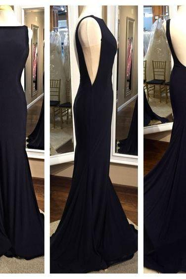 2016 Simple Long Mermaid Prom Dresses,Backless Modest Prom Gowns,Charming Evening Dresses,Pretty Party Dresses,Real Sexy Black Cheap Party Prom Dresses DR0416