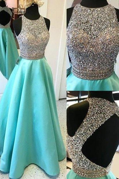Long A-line Prom Dresses,Beading Open Back Satin Prom Dresses,Modest Evening Dresses,Party Prom Dresses,Pretty Prom Gowns DR0507