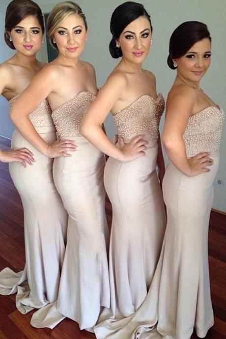 Sweetheart Mermaid Long Beading Bridesmaid Dresses.Beautiful Bridesmaid Dresses