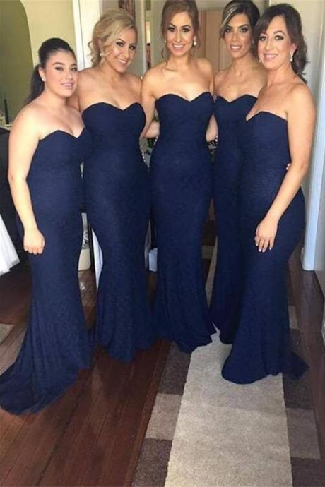 2016 Top Selling Long Sweetheart Navy Blue Lace Bridesmaid Dresses,Mermaid Bridesmaid Gowns