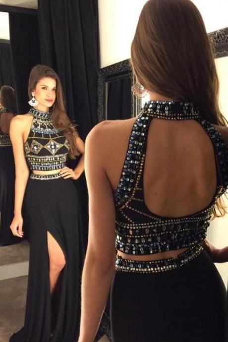 New Arrival Long Front Split Halter Prom Dresses,2 Pieces Beading Prom Gowns,Pretty Sparkly Black Prom Dress,Evening Dresses DR0475