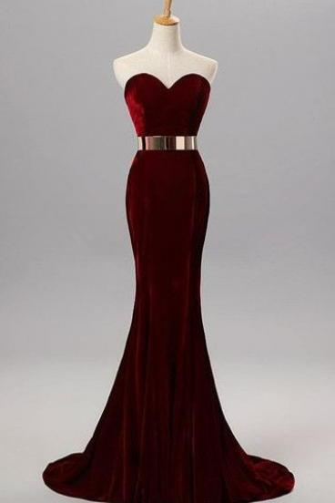 Sweetheart Simple Prom Dresses,Long Mermaid Burgundy Prom Gowns,Elegant Party Prom Dresses,Modest Evening Dresses DR0463