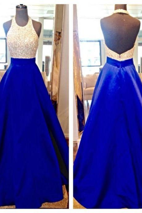 New Design Long Royal Blue Prom Dresses,Halter Beading Charming Prom Gowns,Modest Evening Dresses DR0481