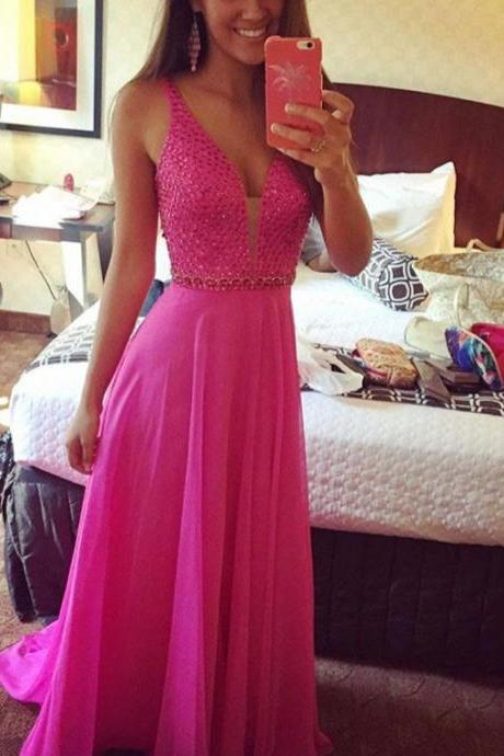 V-neck Hot Pink Beading Prom Dresses,Chiffon Prom Dress,Modest Prom Gowns