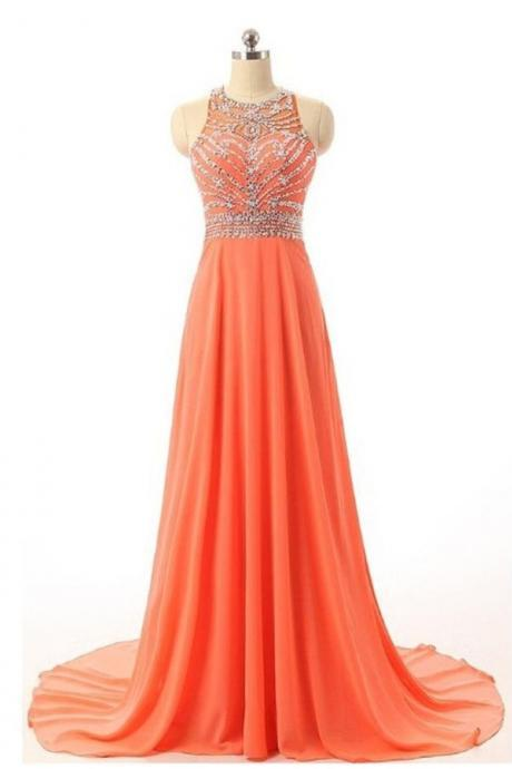 Beautiful Handmade Prom Dresses,Long Prom Dress,Orange Chiffon Prom Gowns,Beaded Party Prom Dresses