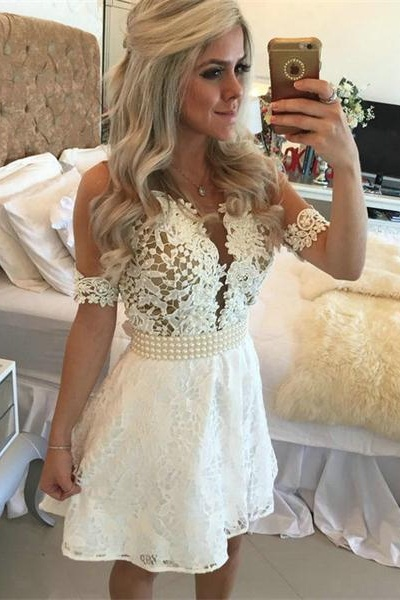 Handmade White Lace Short Prom Dresses,Beautiful Elegant Homecoming Dresses,Sparkly Graduation Dresses