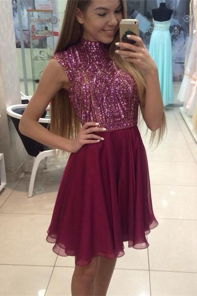 2016 Real Beauty Handmade Beading Short Homecoming Dresses For Teens,High Neck Cute Graduation Dresses