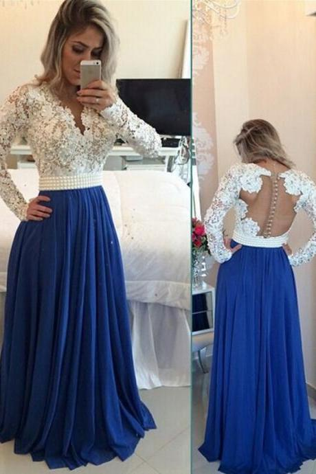 Modest Handmade Long Chiffon Royal Blue Beading Prom Dresses,Sparkly Long Sleeves Prom Dress, Prom Gowns Z0123