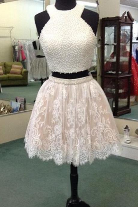 2 Pieces Beading Lace Short Homecoming Dresses For Teens,Handmade Graduation Dresses,Modest Cocktail Dresses