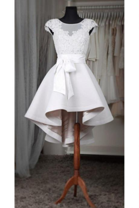 White Lace Short Homecoming Dress For Teens,Classy Short Sleeves Homecoming Dresses White Belt