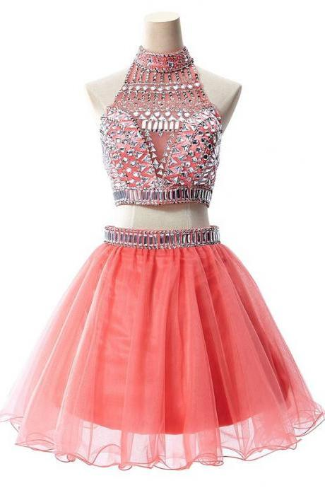 Gorgeous 2 Pieces Homecoming Dresses.Beading Sparkly Homecoming Dresses,Watrermelon Homecoming Dress for Teens