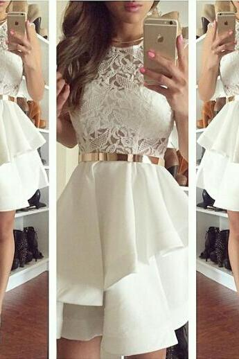 Pretty Ivory Short Lace Homecoming Dress, Classy Homecoming Dress For Teens