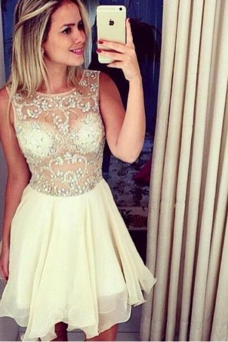 Pretty Ivory Chiffon Short Prom Dresses,Homecoming Dresses,Beading Cocktail Dresses