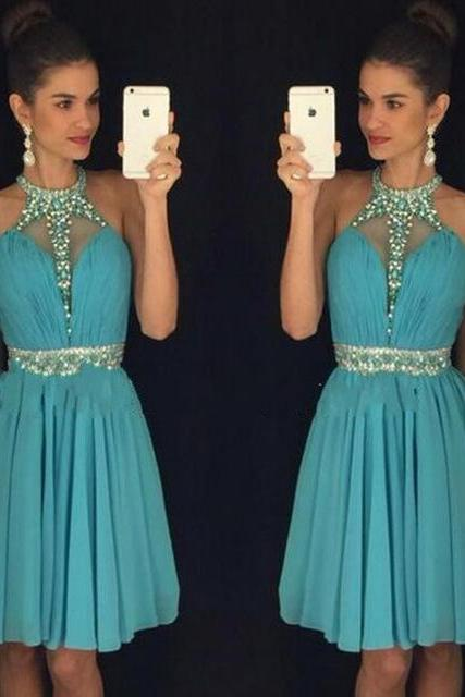 Classy Halter Chiffon Homecoming Dresses,Beading Homecoming Dresses,Open Back Short Prom Dress