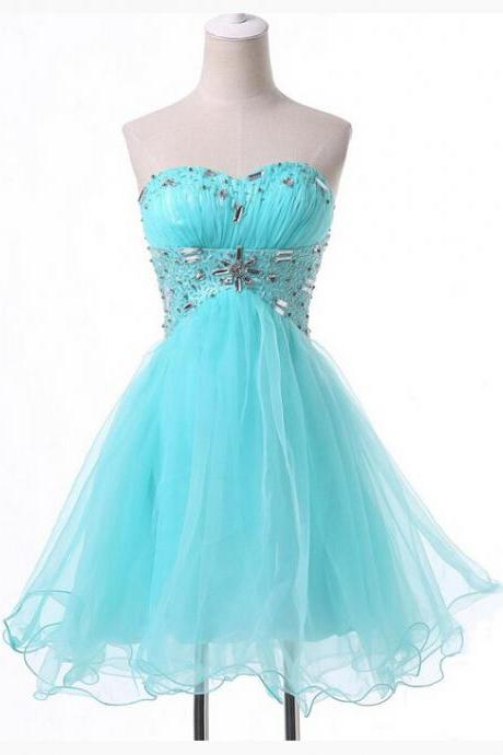 Beautiful Ice Blue Short Homecoming Dresses,Sweetheart Beaded Homecoming Dress