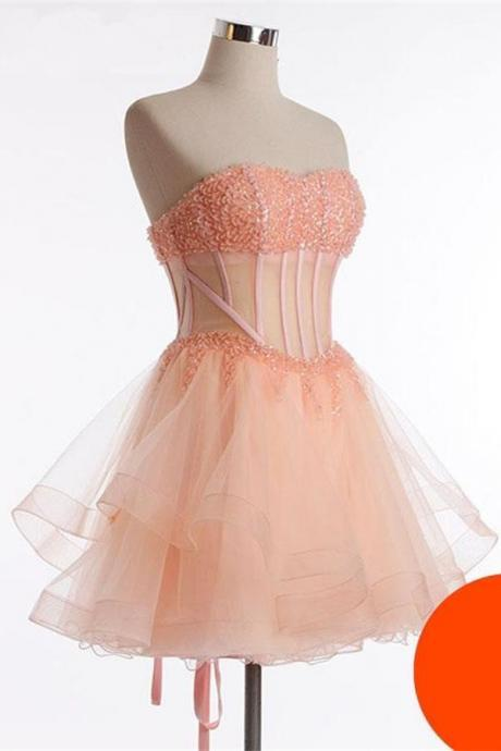 See Through Homecoming Dresses,Pretty Cocktail Dresses,Handmade Orange Homecoming Dresses