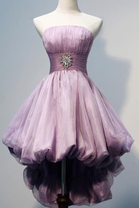 Gorgeous Strapless High Low Beaded Homecoming Dresses,Pretty Handmade Homecoming Dresses For Teens
