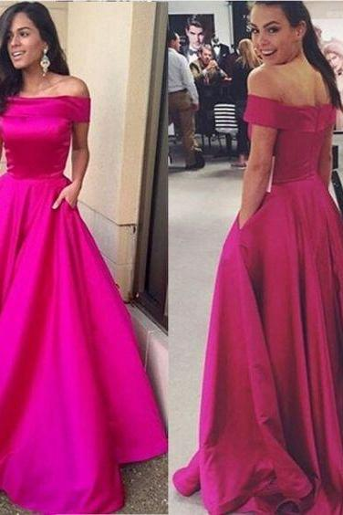 Sexy Hot Pink Long Prom Dresses,Boat Neckline Off Shoulder Prom Gowns,Modest Evening Dresses